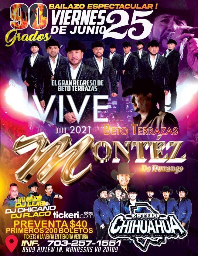 Flyer for Montez de Durango y Estilo Chihuahua en Vivo en 90 Grados!