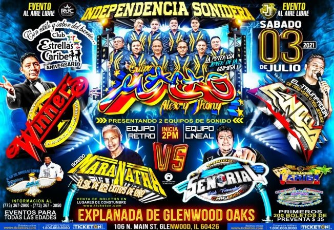 Flyer for Independencia Sonidera - Grupo Macao -  Sonido Maranatha - Winners Senorial - Sonido Candela y mas