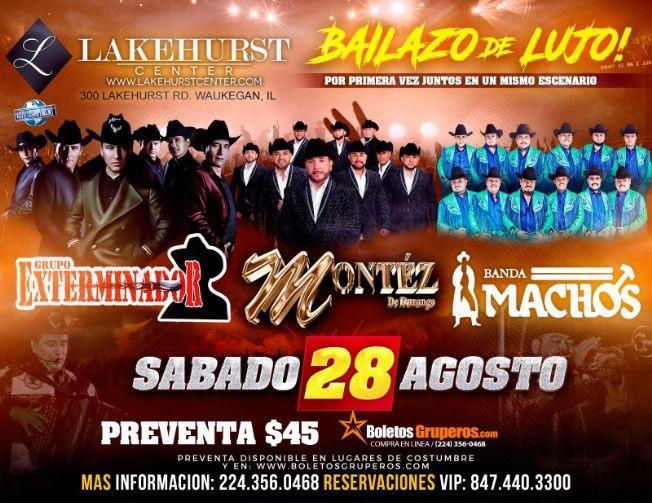 Flyer for GRUPO MONTEZ DE DURANGO, GRUPO EXTERMINADOR, BANDA MACHOS