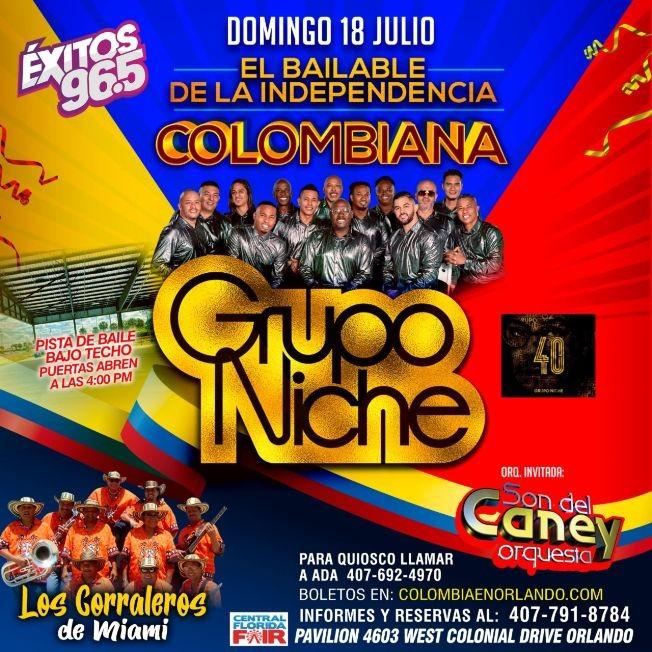 Flyer for GRUPO NICHE y Los Corraleros de Miami en concierto /El Bailable de La Independencia Colombiana en Orlando