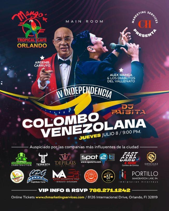 """Flyer for Independencia colombo venezolana en Mangos """"Los Diablitos vs Argenis Carruyo"""""""