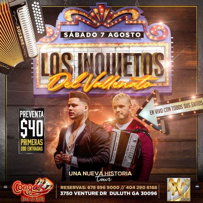Flyer for LOS INQUIETOS DEL VALLENATO EN ATLANTA