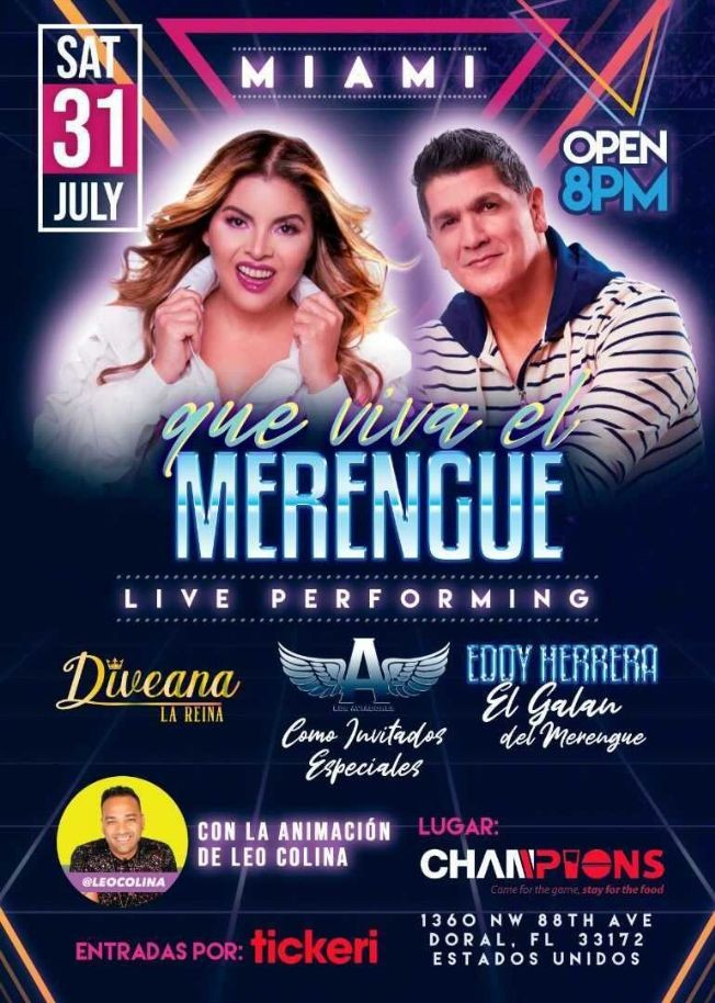 Flyer for DIVEANA, EDDY HERRERA QUE VIVA EL MERENGUE