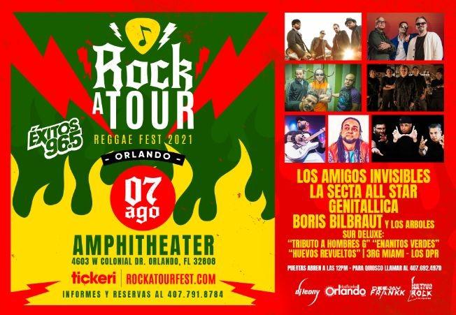 Flyer for Rockatour Reggae Fest 2021 con Los Amigos Invisibles, La Secta All Star, Genitallica, Boris Bilbraut y Los Arboles y mas! POSTPONED