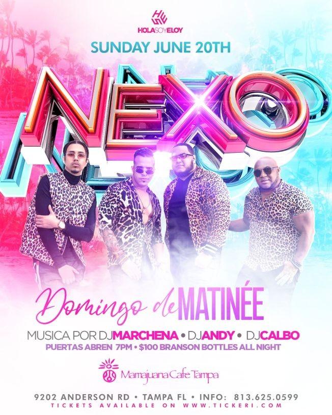 Flyer for Nexo live at Mamajuana Café Tampa