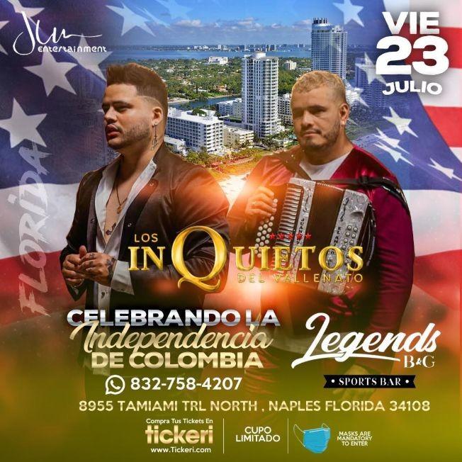 Flyer for LOS INQUIETOS DEL VALLENATO EN NAPLES FLORIDA