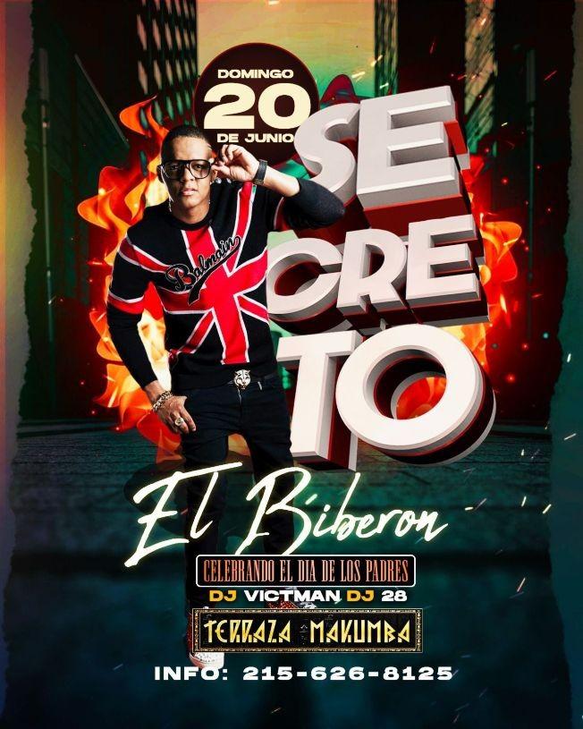 Flyer for Secreto El Famoso Biberon en Makumba Philly!