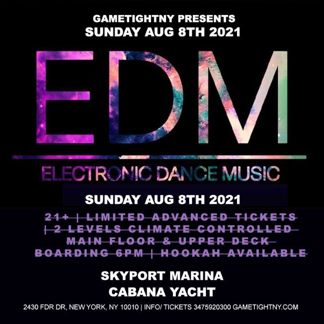 Flyer for Manhattan EDM Sunday Sunset Yacht Cruise Skyport Marina Cabana Yacht