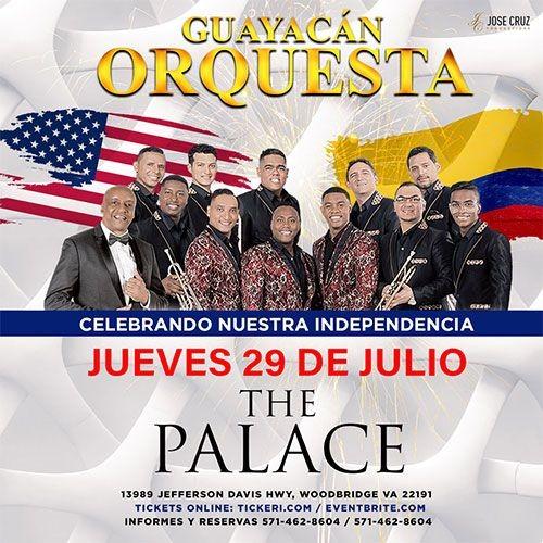 Flyer for GUAYACAN ORQUESTA EN THE PALACE CANCELED