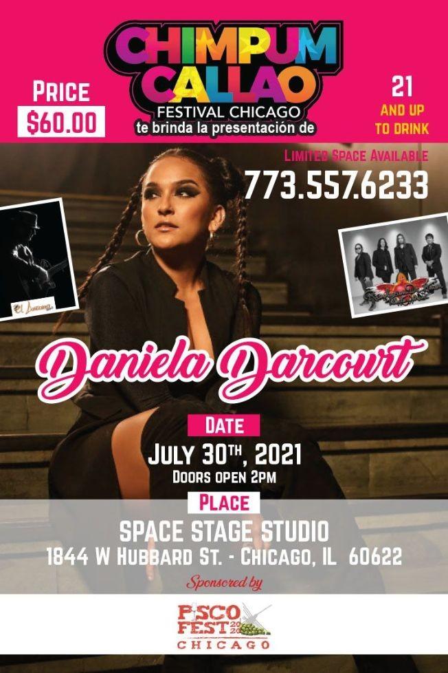 Flyer for Chimpum Callao Festival Chicago ,  Daniela Darcourt