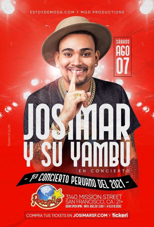 Flyer for JOSIMAR Y SU YAMBU, PRIMER CONCIERTO PERUANO DEL 2021 EN ROCCAPULCO