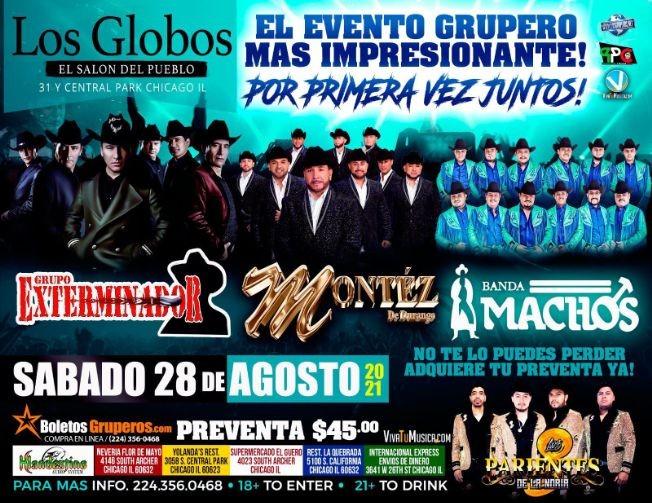 Flyer for GRUPO MONTEZ DE DURANGO, GRUPO EXTERMINADOR, BANDA MACHOS, EL EVENTO GRUPERO MAS IMPRESIONANTE