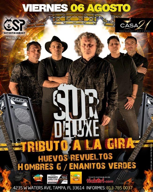 Flyer for SUR DELUXE TRIBUTO A LA GIRA, HUEVOS REVUELTOS, HOMBRES G, ENANITOS VERDES
