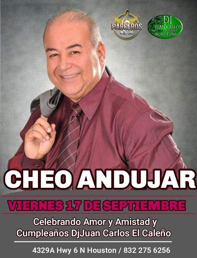 Flyer for CHEO ANDUJAR EN HOUSTON - CELEBRANDO EL AMOR Y AMISTAD