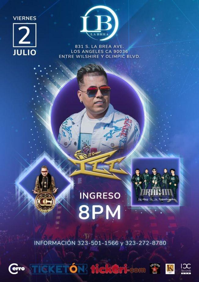 Flyer for Grupo ICC, GRUPO DRAGON & OG EL MOVIMIENTO EN LOS ANGELES