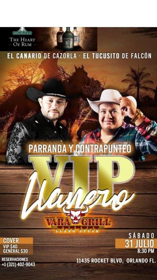 Flyer for EL CANARIO DE CAZORLA, EL TUCUSITO DE FALCON, PARRANDA Y CONTRAPUNTEO