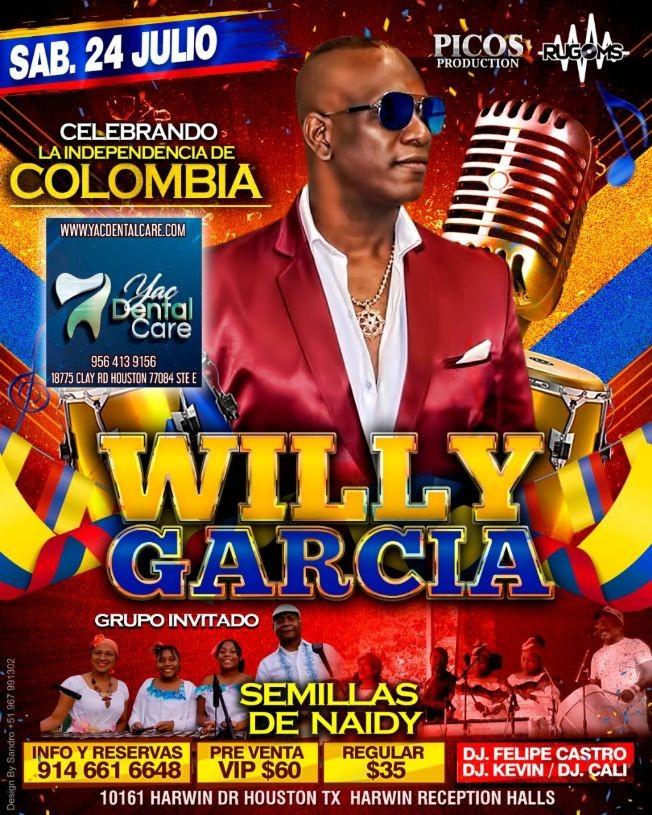 Flyer for WILLY GARCIA - SEMILLAS DE NAIDY-HOUSTON - INDEPENDENCIA DE COLOMBIA