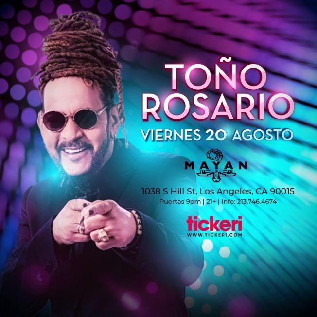 Flyer for TOÑO ROSARIO EN LOS ANGELES