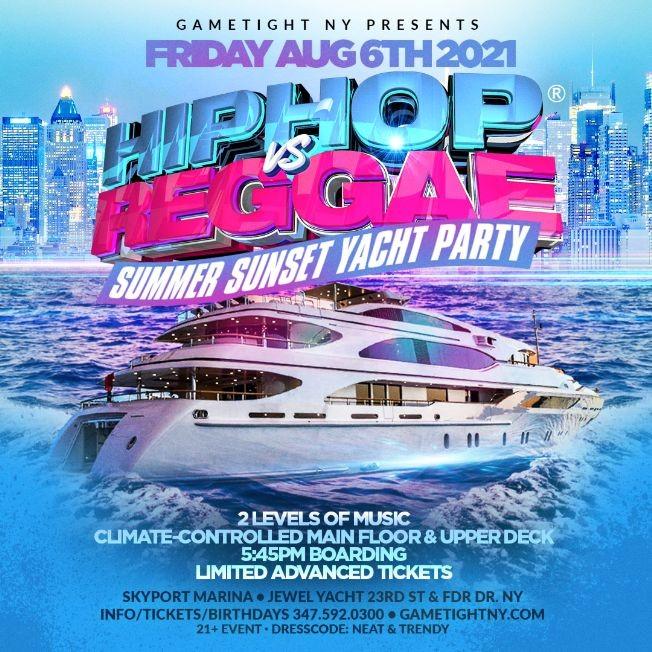 Flyer for NYC Summer Sunset Hip Hop vs Reggae® Cruise Skyport Marina Jewel Yacht