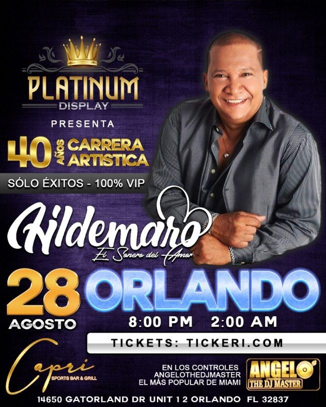 Flyer for Hildemaro - Orlando Florida Sábado 28 de agosto 2021