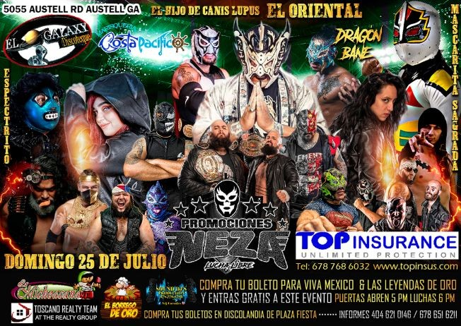 Flyer for Promociones Neza: Lucha Libre en Vivo!