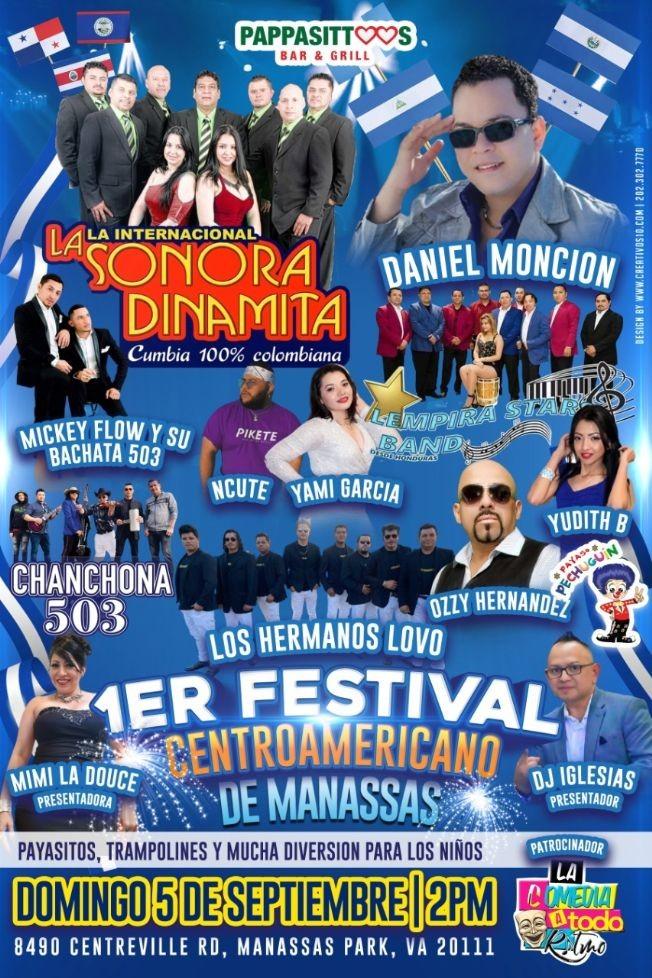 Flyer for 1er FESTIVAL CENTROAMERICANO, LA INTERNACIONAL SONORA DINAMITA, DANIEL MONCION, LOS HERMANOS LOVO, YAMI GARCIA, NCUTE Y MUCHOS MAS