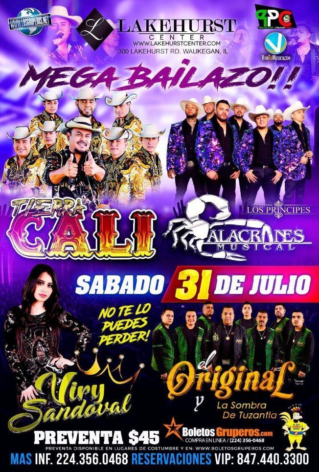 Flyer for TIERRA CALI, LOS PRINCIPES ALACRANES MUSICAL, VIRY SANDOVAL, EL ORIGINAL Y LA SOMBRA DE TUZANTLA, MEGA BAILAZO