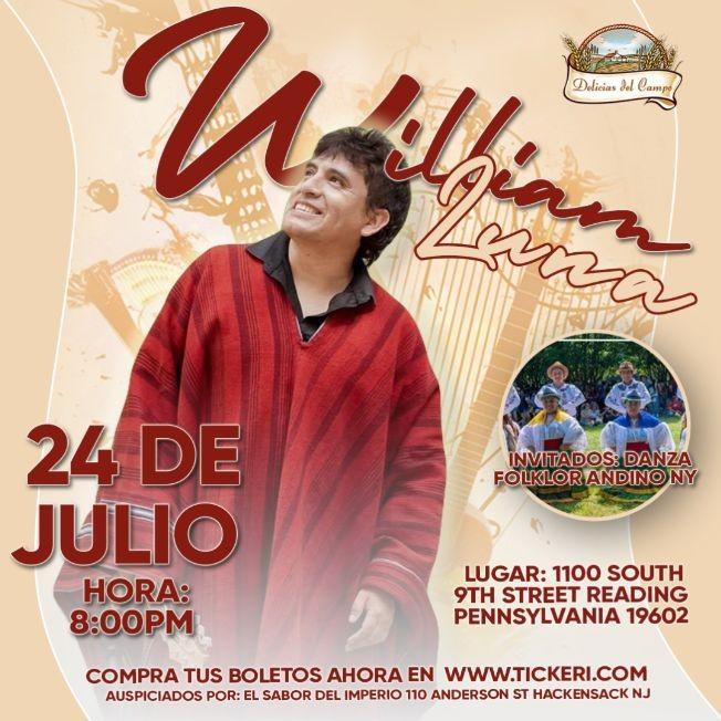 Flyer for William Luna en Delicias del Campo Reading Pennsylvania
