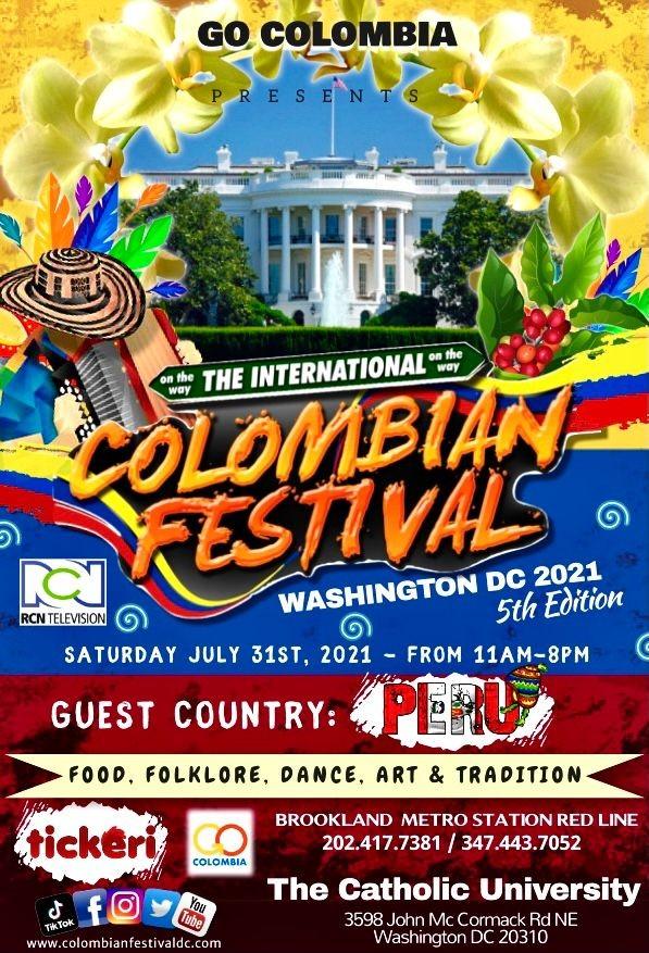 Flyer for The International Colombian Festival Washington DC 2021