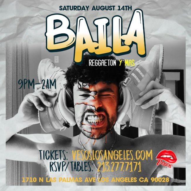 Flyer for Vesos Brings you BAILA Hollywood 21+