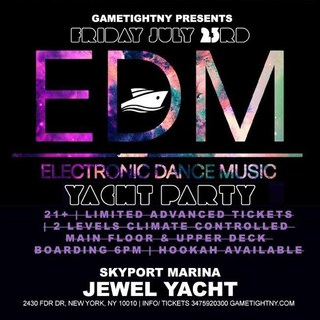 Flyer for NYC EDM Friday Sunset Yacht Party Cruise Skyport Marina Jewel Yacht 2021