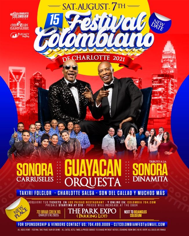 Flyer for Festival Colombiano de Charlotte 2021   Sat Aug 7th   The Park Expo
