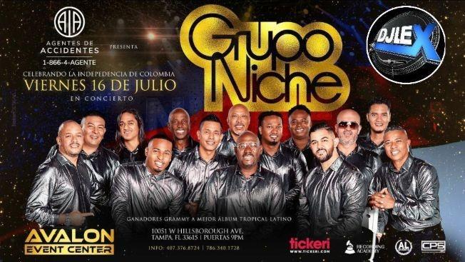 Flyer for Grupo Niche en Tampa Y DJ DIEGO VEGA Celebrando la Independencia de Colombia