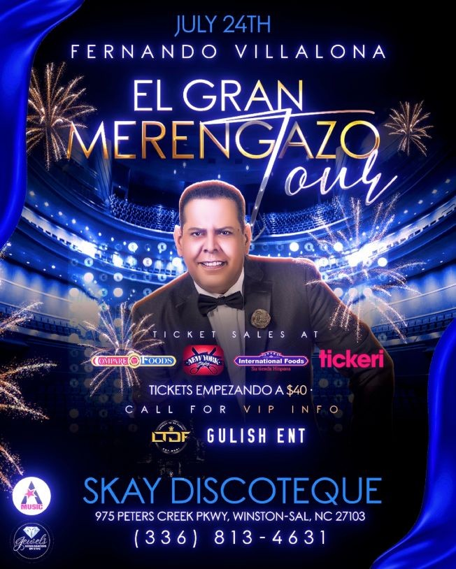 Flyer for FERNANDO VILLALONA EL GRAN MERENGAZO TOUR-WINSTON SALEM