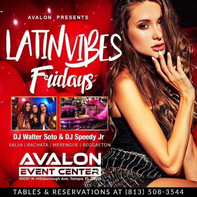 Flyer for Latin Vibes Fridays at Avalon Event Center
