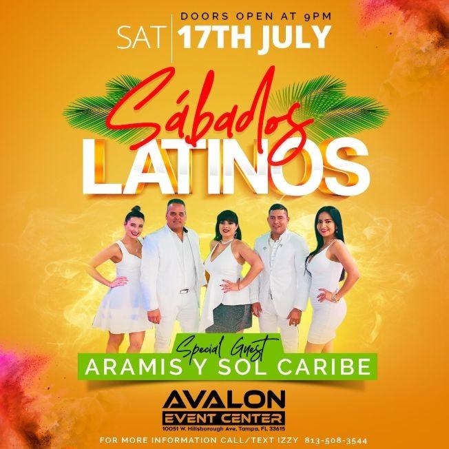 Flyer for Sabado Latino with Aramis y Sol Caribe