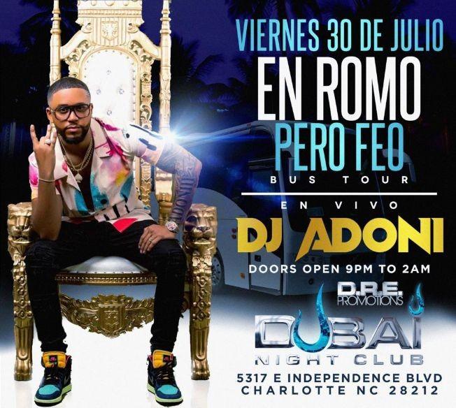 Flyer for DJ ADONI @ CLUB DUBAI - FRIDAY JULY 30th 2021