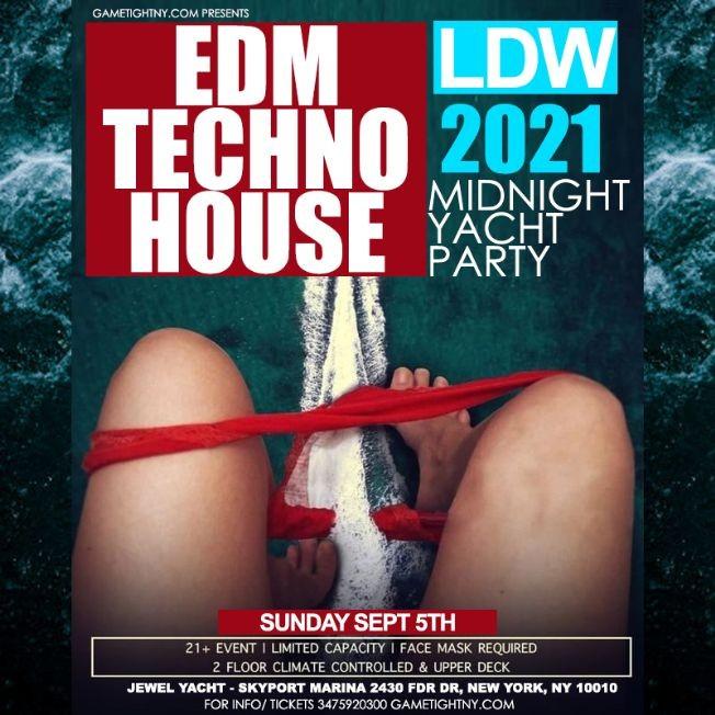 Flyer for LDW EDM Midnight Yacht Party Sunday Funday Cruise Skyport Marina Jewel Yacht 2021