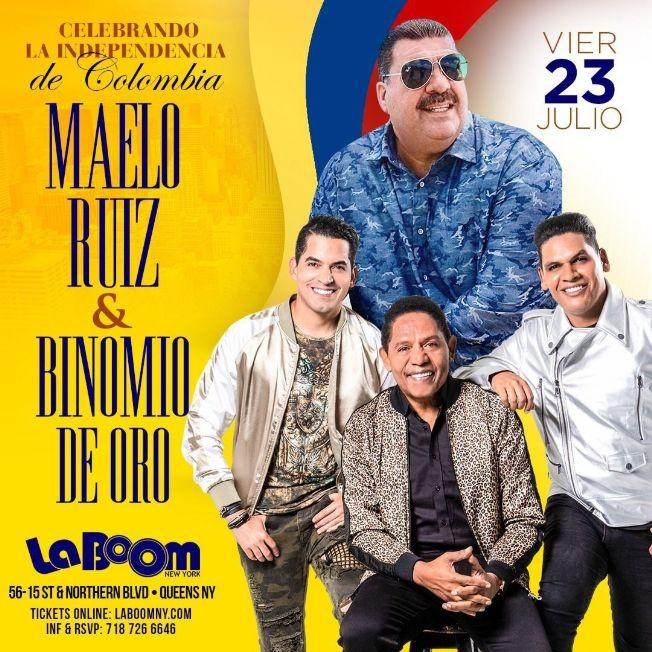 Flyer for MAELO RUIZ, BINOMIO DE ORO, CELEBRANDO LA INDEPENDENCIA DE COLOMBIA