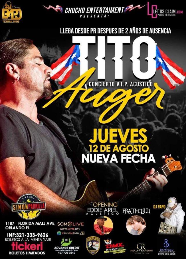 Flyer for Desde PR, Tito Auger en Orlando FL!