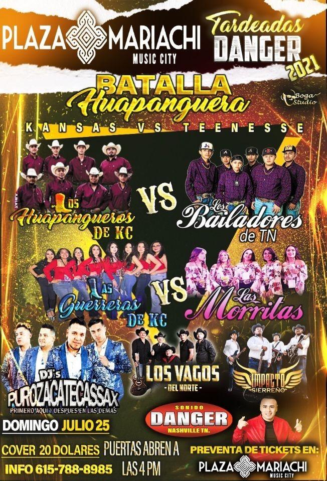 Flyer for LOS HUAPANGUEROS DE KC Vs LOS BAILADORES DE TN, LAS GUERRERAS DE KC Vs LAS MORRITAS, LOS VAGOS DEL NORTE, IMPACTO SIERREÑO