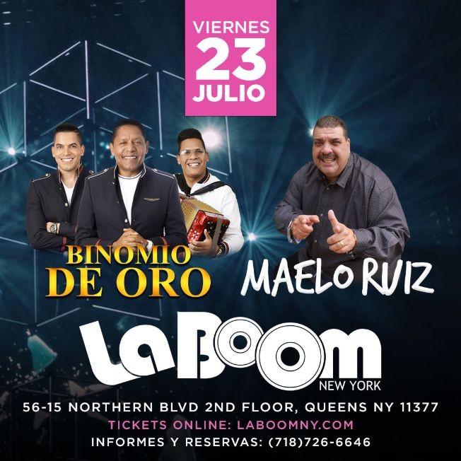 Flyer for MAELO RUIZ Y EL BINOMIO DE ORO EN NEW YORK
