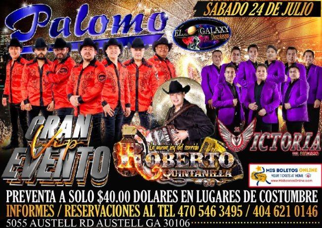 Flyer for PALOMO GRAN EVENTO VIP,  LA VICTORIA DE MEXICO Y ROBERTO QUINTANILLA!