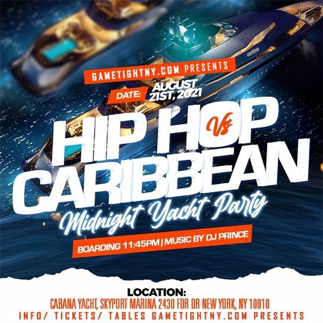 Flyer for NYC Carribean vs Hip Hop Midnight Summer Cruise Skyport Marina Cabana