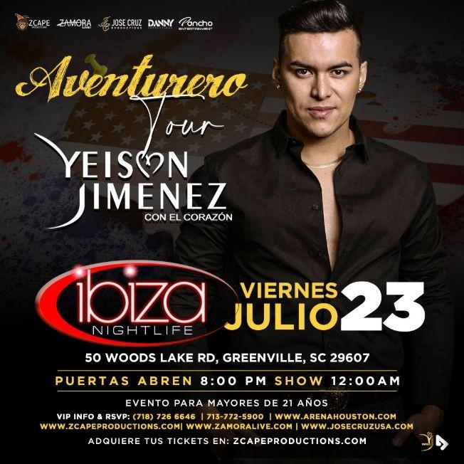 "Flyer for YEISON JIMENEZ ""AVENTURERO TOUR"" EN GREENVILLE"