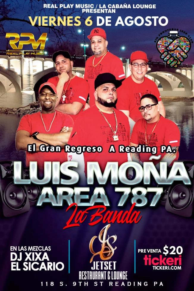 Flyer for LUIS MONA Y AREA 787 @ JETSET REST & LOUNGE