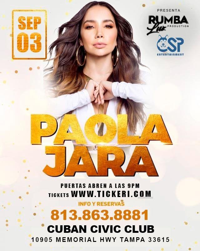 Flyer for Paola Jara en Tampa (03 SeptIembre)