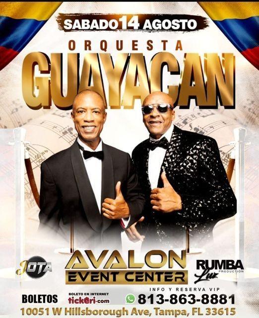 Flyer for ORQUESTA GUAYACAN EN TAMPA (AVALON EVENT CENTER) 14 AGOSTO