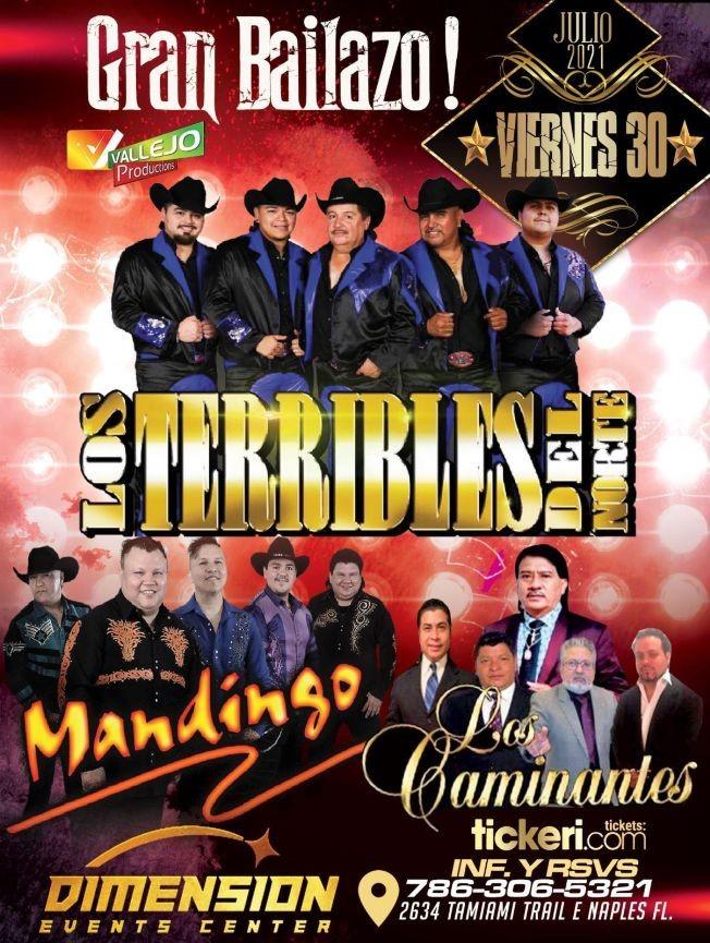 Flyer for LOS TERRIBLES DEL NORTE, GRUPO MANDINGO, LOS CAMINANTES EN CONCIERTO ! NAPLES FLORIDA