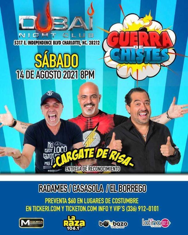 Flyer for RADAMES / CASASOLA / EL BORREGO, CARGATE DE RISA, GUERRA DE CHISTES EN CHARLOTTE NORTH CAROLINA